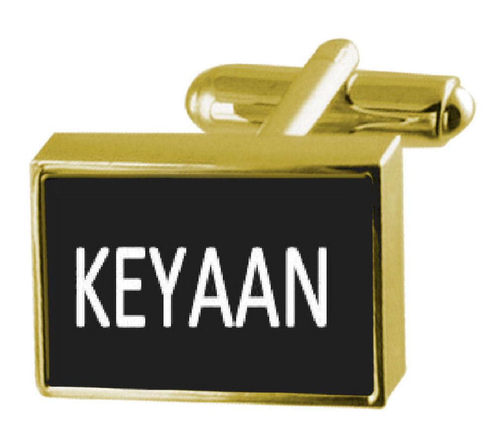 【送料無料】メンズアクセサリ― ボックスカフリンクスengraved box goldtone cufflinks name keyaan