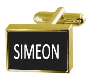 【送料無料】メンズアクセサリ― ボックスカフリンクスシメオンengraved box goldtone cufflinks name simeon