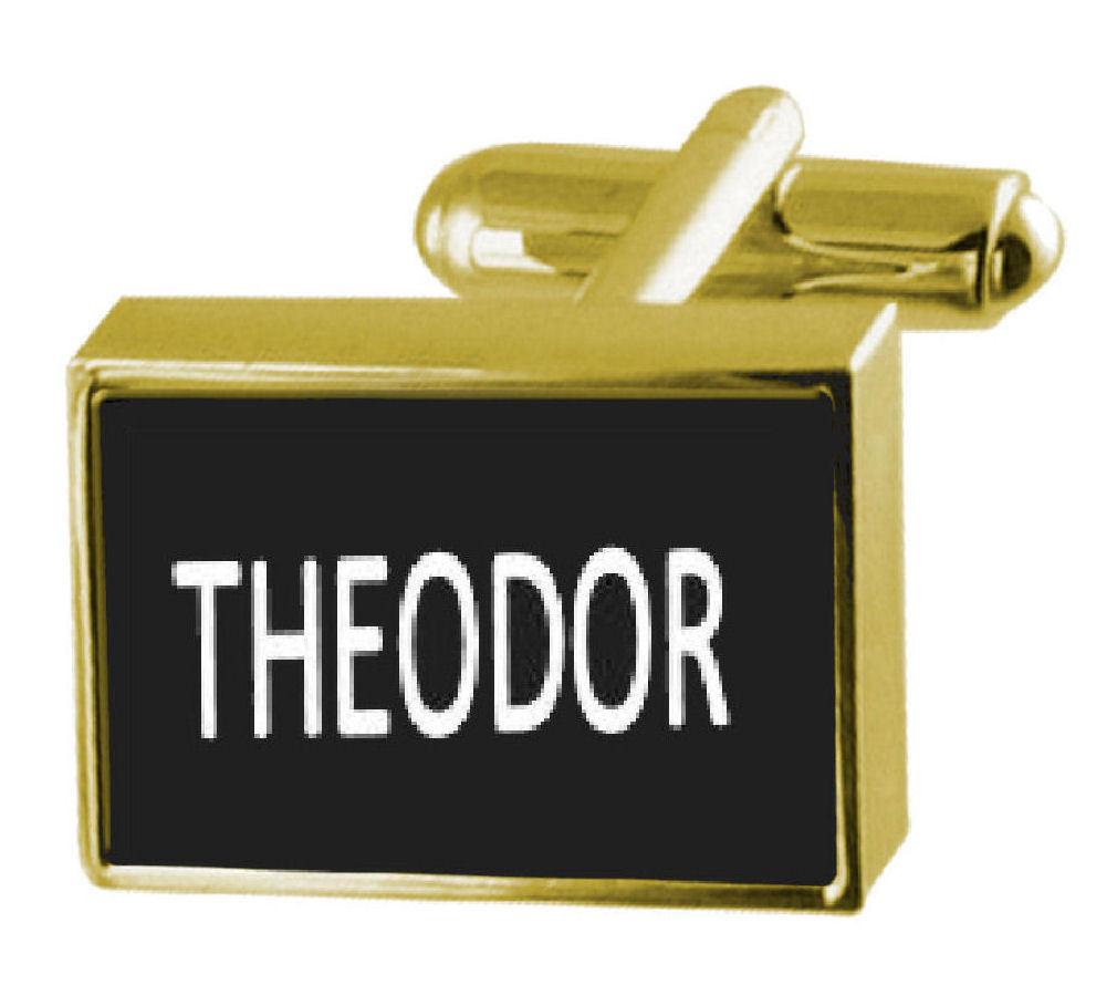 【送料無料】メンズアクセサリ― ボックスカフリンクスengraved box goldtone cufflinks name theodor