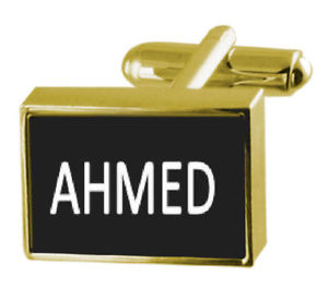 【送料無料】メンズアクセサリ― ボックスカフリンクスアーメドengraved box goldtone cufflinks name ahmed