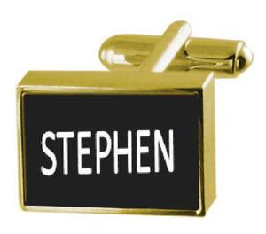 【送料無料】メンズアクセサリ― ボックスカフリンクススティーブンengraved box goldtone cufflinks name stephen