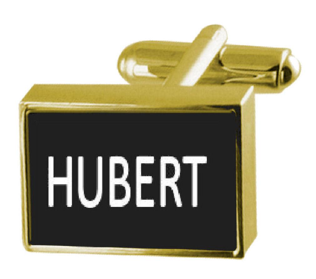 【送料無料】メンズアクセサリ― ボックスカフリンクスengraved box goldtone cufflinks name hubert