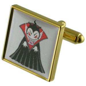 【送料無料】メンズアクセサリ― ドラキュラゴールドスクエアカフリンクスdracula vampire gold square cufflinks with engraved personalised case