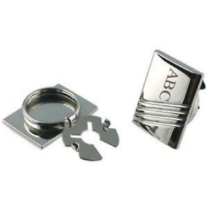 【送料無料】メンズアクセサリ― パーソナライズボタンポーチカバーシルバーイニシャルpersonalised button covers engraved silver max 3 initials in pouch
