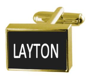 【送料無料】メンズアクセサリ― ボックスカフリンクスengraved box goldtone cufflinks name layton