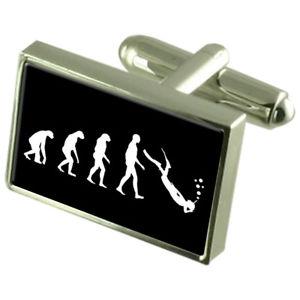 【送料無料】メンズアクセサリ― マンスキューバカフスリンクメッセージボックスevolution ape to man scuba cufflinks engraved message box