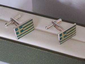 【送料無料】メンズアクセサリ― カフスリンクgreeceフラグ,silver cufflinks hallmarked, the flag of greece, never used complete with box