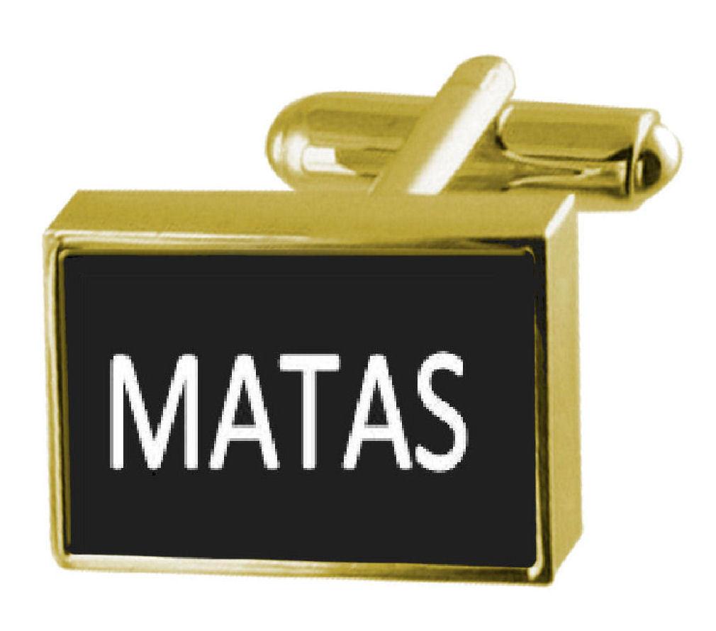 【送料無料】メンズアクセサリ― カフスリンク マタengraved box goldtone cufflinks name matas