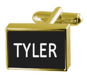 【送料無料】メンズアクセサリ― カフスリンク タイラーengraved box goldtone cufflinks name tyler