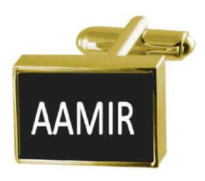 【送料無料】メンズアクセサリ― カフスリンク aamirengraved box goldtone cufflinks name aamir