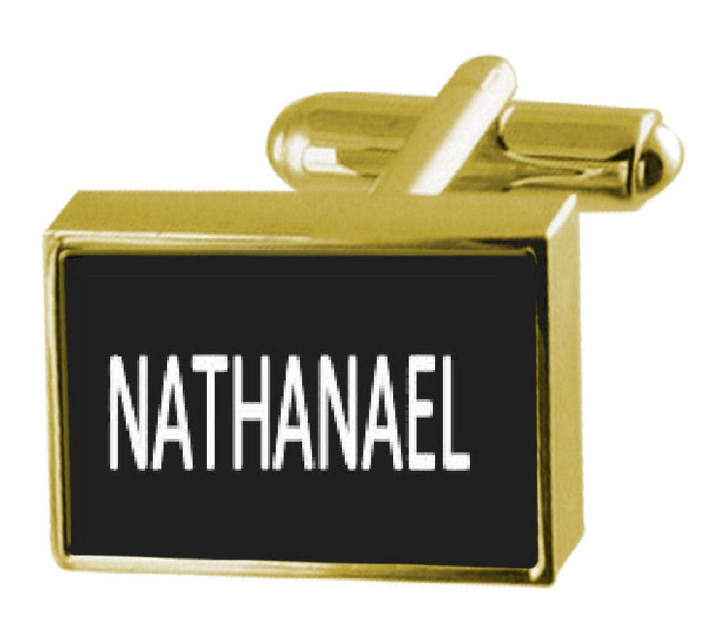 【送料無料】メンズアクセサリ― ボックスカフリンクスengraved box goldtone cufflinks name nathanael