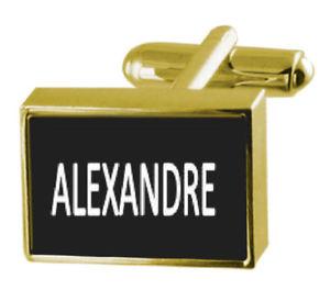 【送料無料】メンズアクセサリ― ボックスカフリンクスアレクサンドルengraved box goldtone cufflinks name alexandre