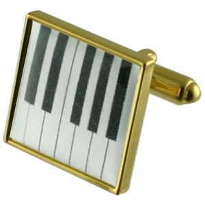 【送料無料】メンズアクセサリ― ピアノキーゴールドスクエアカフリンクスmusic piano keys gold square cufflinks with engraved personalised case