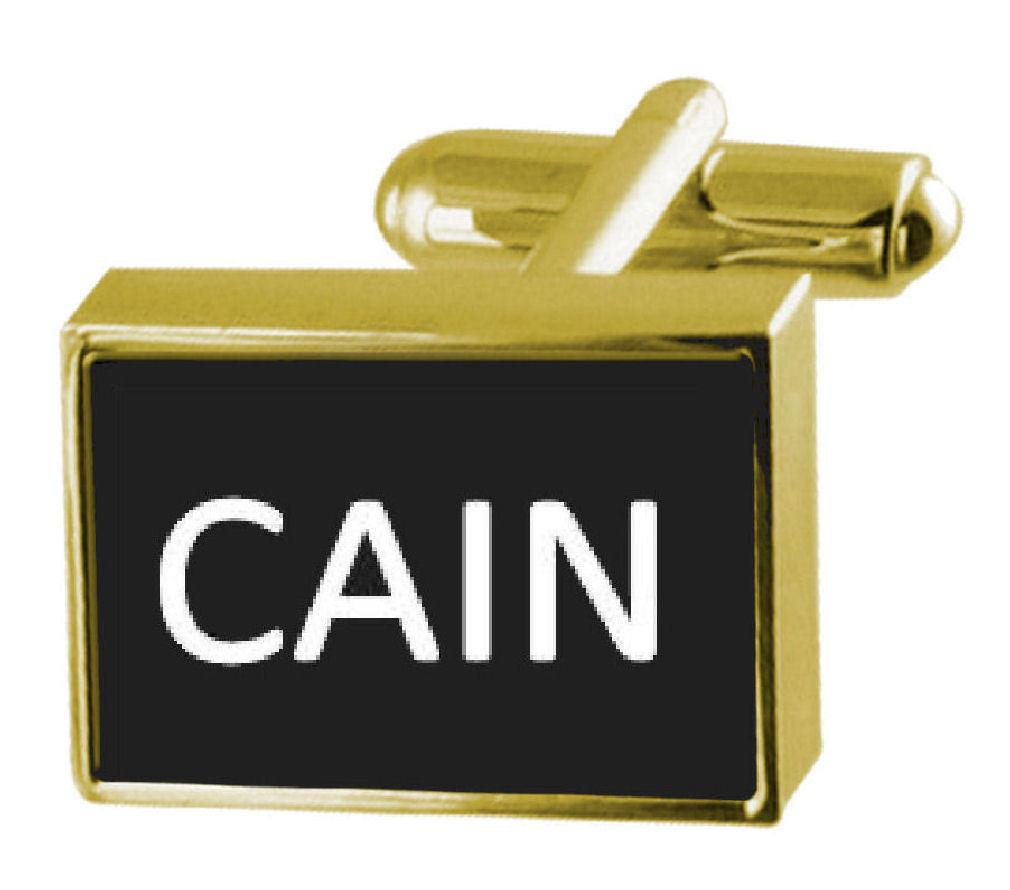 【送料無料】メンズアクセサリ― ボックスカフリンクスカインengraved box goldtone cufflinks name cain