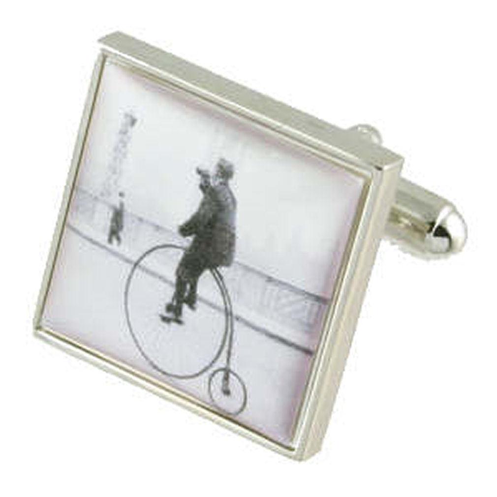【送料無料】メンズアクセサリ― カフスリンクペニーファージングsilver bicycle cufflinks penny farthing bicycle engraved personalised box
