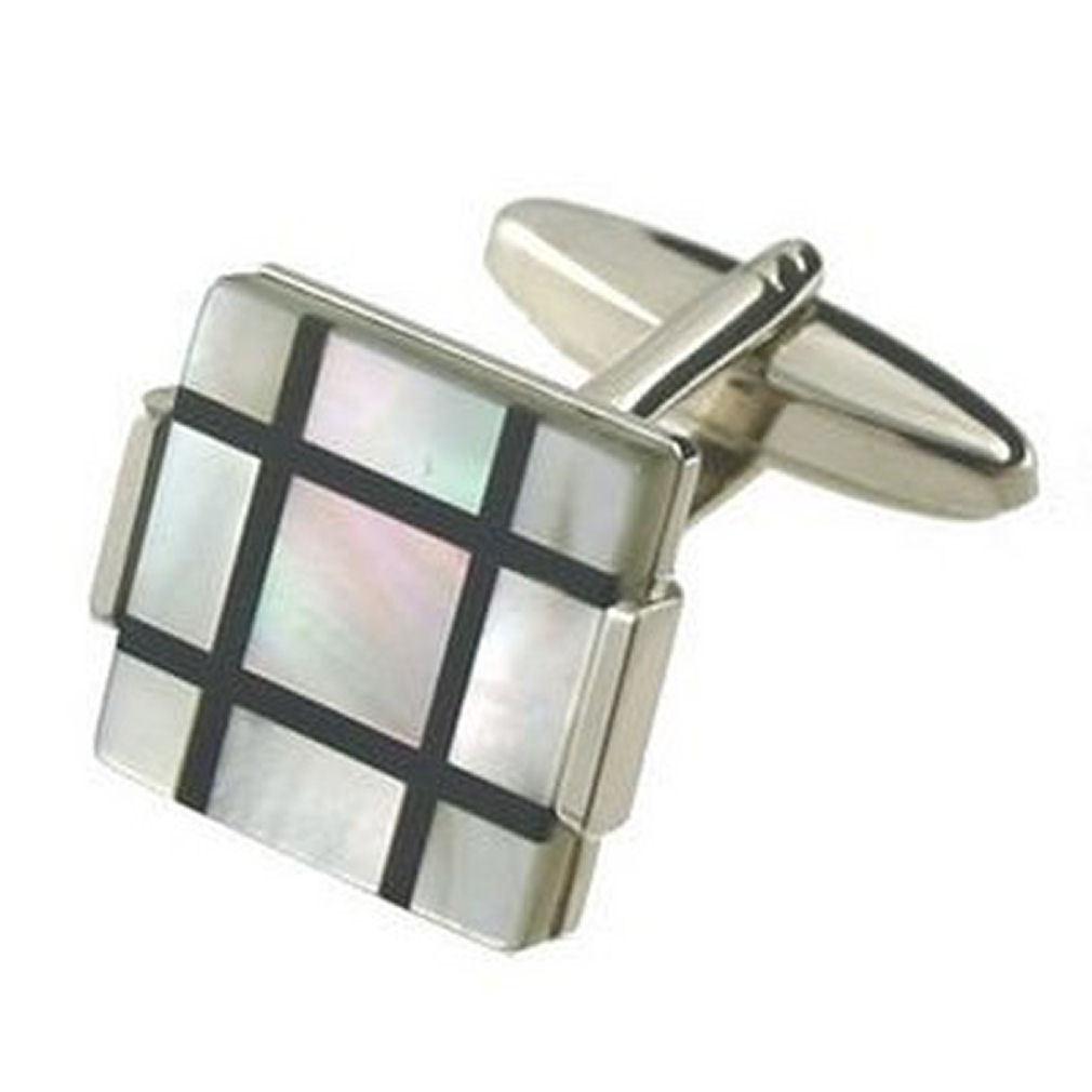 【送料無料】メンズアクセサリ― シマメノウパールカフスリンクコンビネーションロケットonyx pearl cufflinks combination precious stone retro square engraved box