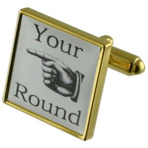 【送料無料】メンズアクセサリ― ゴールドスクエアカフリンクスyour round fun gold square cufflinks with engraved personalised case