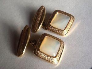 【送料無料】メンズアクセサリ― ヴィンテージゴールドメッキパールカフリンクスquality vintage gold plated amp; mother of pearl cufflinks