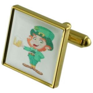 【送料無料】メンズアクセサリ― アイルランドゴールドスクエアカフリンクスirish leprechaun gold square cufflinks with engraved personalised case