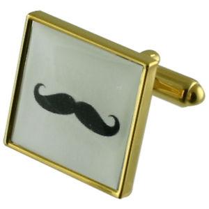 【送料無料】メンズアクセサリ― ヒゲゴールドスクエアカフリンクスmoustache gold square cufflinks with engraved personalised case