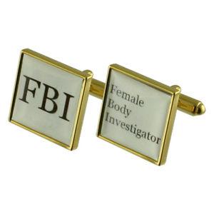 【送料無料】メンズアクセサリ― ゴールドスクエアカフリンクスfbi fun gold square cufflinks with engraved personalised case