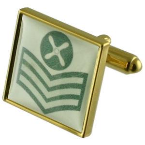 【送料無料】メンズアクセサリ― ランクゴールドスクエアカフスボタンボックスpersonalised rank or regiment gold square cufflinks engraved box