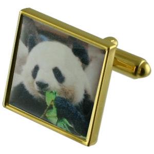 【送料無料】メンズアクセサリ― パンダゴールドスクエアカフリンクスpanda gold square cufflinks with engraved personalised case