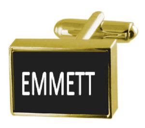 【送料無料】メンズアクセサリ― ボックスカフリンクスengraved box goldtone cufflinks name emmett