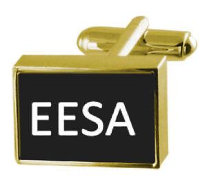 【送料無料】メンズアクセサリ― ボックスカフリンクスengraved box goldtone cufflinks name eesa