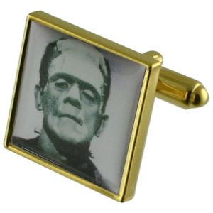 【送料無料】メンズアクセサリ― フランケンシュタインゴールドスクエアカフリンクスmonster frankenstein gold square cufflinks with engraved personalised case