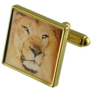 【送料無料】メンズアクセサリ― ライオンゴールドスクエアカフリンクスzoo lion gold square cufflinks with engraved personalised case
