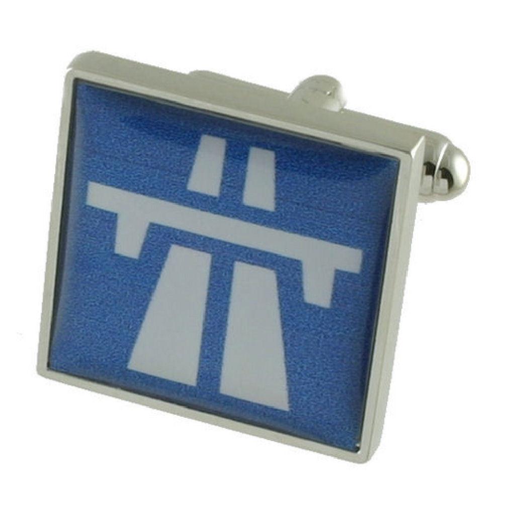 【送料無料】メンズアクセサリ― カフリンクサインインボックスcuff links motorway sign engraved personalised box