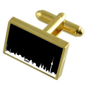 【送料無料】メンズアクセサリ― スカイラインベルリンカフスボタンメッセージボックスskyline berlin goldtone cufflinks engraved message box