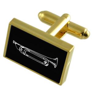 【送料無料】メンズアクセサリ― カフスボタンメッセージボックスbugle goldtone cufflinks engraved message box