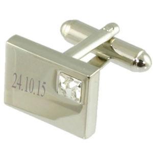 【送料無料】メンズアクセサリ― メッセージボックスカフスボタンクリアclear white rectangular engraved cufflinks in message box