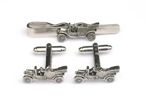 【送料無料】メンズアクセサリ― ピューターカフスボタンタイクリップボックスセットclassic car pewter cufflinks and tie clip set car lover gift boxed