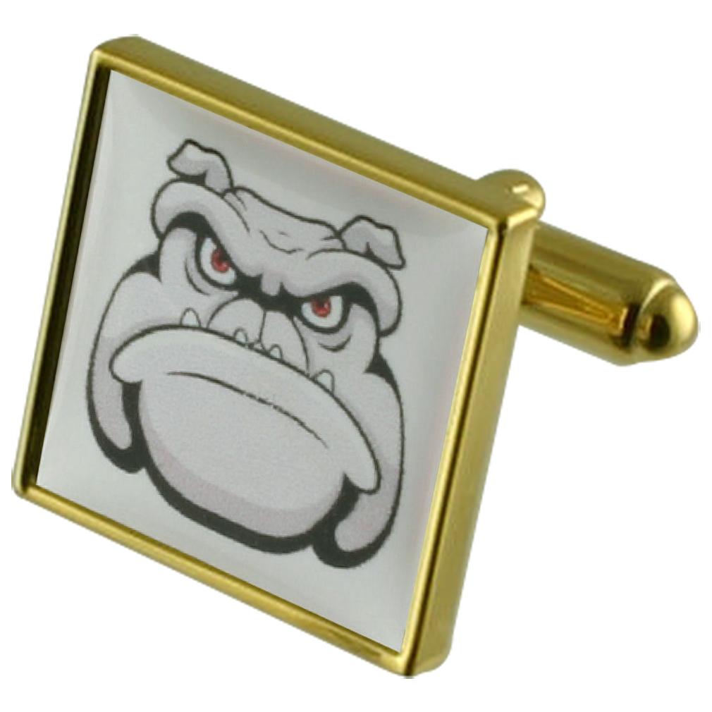 【送料無料】メンズアクセサリ― サイトゴールドスクエアカフリンクスdog cartoon gold square cufflinks with engraved personalised case