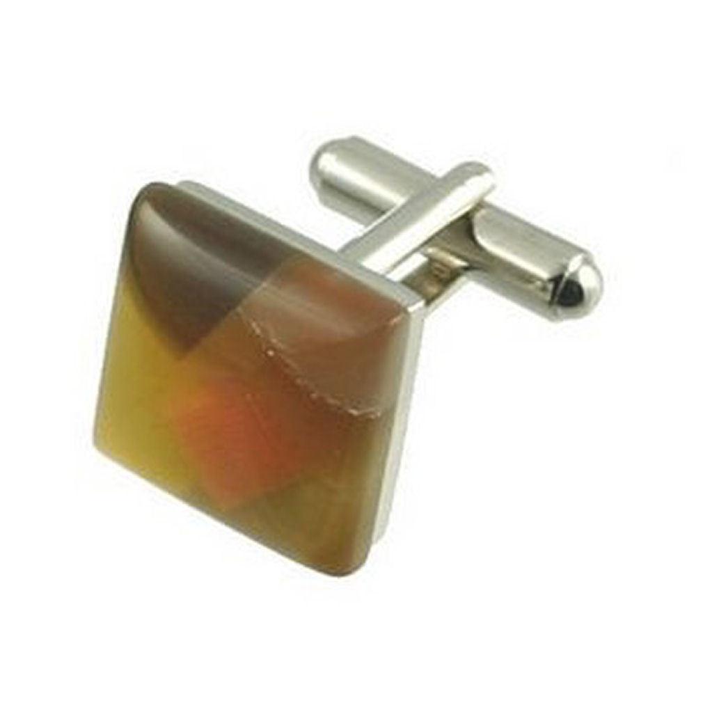 【送料無料】メンズアクセサリ― カフリンクスカフスボタンモザイクブラウンパターンボックスオンcuff links mosaic cufflinks brown pattern engraved personalised box