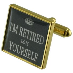 【送料無料】メンズアクセサリ― カフリンクスretired retirement gold square cufflinks with engraved personalised case
