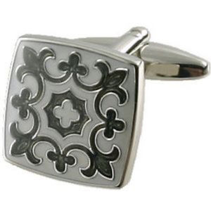 【送料無料】メンズアクセサリ― チューダーグレーカフスボタンオプションボックスオンtudor grey cufflinks optional engraved personalised box