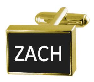 【送料無料】メンズアクセサリ― ボックスカフリンクスengraved box goldtone cufflinks name zach