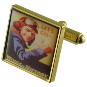 【送料無料】メンズアクセサリ― ゴールドスクエアカフリンクスraf gold square cufflinks with engraved personalised case