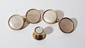 【送料無料】メンズアクセサリ― ビンテージアールデコパールカフリンクスシャツスタッドドレスボタンvintage art deco gilt amp; mother of pearl cufflinks amp; shirt stud dress button