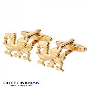 【送料無料】メンズアクセサリ― ウェールズドラゴンカフスボタンゴールドwelsh dragon cufflinks gold