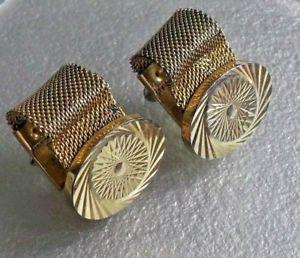 【送料無料】メンズアクセサリ― ビンテージメンズカフリンクスチェーンメッシュラップアラウンドcufflinks vintage mens cuff links 1960s 1970s goldtone chain mesh wraparound