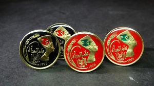 【送料無料】メンズアクセサリ― エジプトエナメルコインカフスボタンegypt enamelled coin cufflinks 5 milliemes