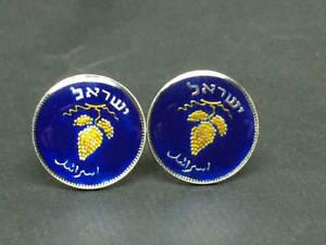 【送料無料】メンズアクセサリ― イスラエルエナメルコインカフスボタングレープクラスタisrael enamelled coin cufflinks 25 pruta grape cluster 19mm