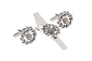 【送料無料】メンズアクセサリ― スコットランドアザミタイバークリップシャツセットオニキスアートロンドンscottish thistle tie bar clip and shirt cufflink set by onyx art london boxed