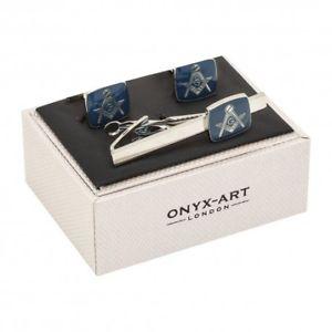 【送料無料】メンズアクセサリ― タイバータイクリップカフスボタンセットblue masonic g tie bar tie clip and cufflinks set