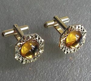 送料無料 メンズアクセサリ― ビンテージメンズカフリンクスゴールデンイエローガラスcufflinks vintage mens cuff links 1960s sparkling golden yellow glass stonevm7yYb6Igf